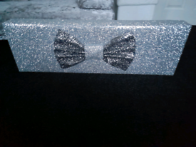 Stunning silver and Black bow glitter pelmet custom made