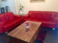 3 seater + 2 seater red leather sofa in mint condition