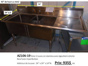 Évier en stainless commercial sur pieds (cuves stainless),
