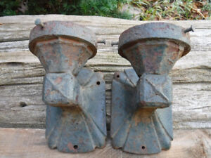 VINTAGE ART DECO CAST IRON WALL SCONES  RUSTY PAINTED