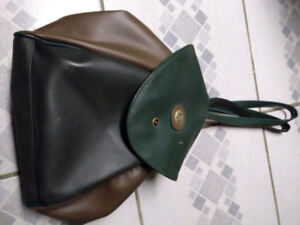 Green and brown leather backpack purse