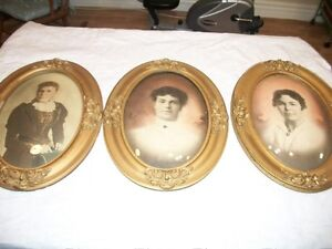 Antique wooden portraits with convex glass 3 for $60