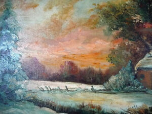 "Antique Early French Artist Paul Welsch ""Paysage d'Hiver"" 1927 Stratford Kitchener Area image 7"