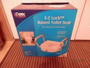 Carex E-Z Lock Raised Toilet Seat w/ Adj. Armrests *New in Box*
