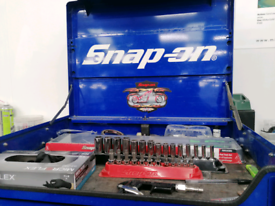 Snap on tool box with snap on tools