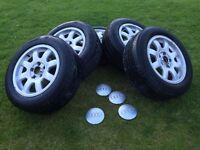 """5x112 Audi excellent alloys & tyres & centre caps 15"""""""