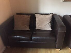 2 faux leather sofas