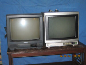 Two 13 inch televisions one SONY one SAMSUNG