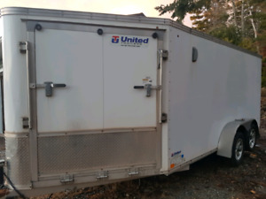 19 ft V nose aluminum  enclosed trailer,