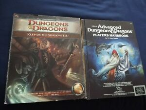 2 DUNGEONS & DRAGONS PLAYERS HANDBOOKS/MODULES/GUIDES
