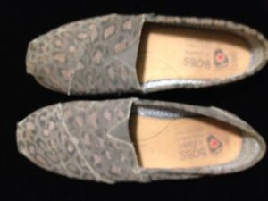 Bobs by Sketchers Slip On Shoes- Suede Leopard Print