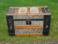 Antique Trunk with Embossed Metal