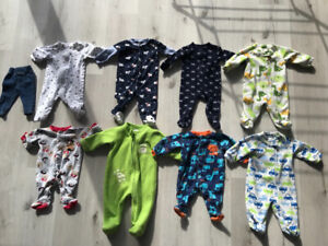 3-6 Month Baby Boy Sleepers Lot
