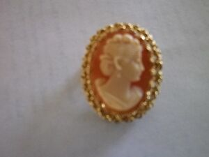 **Beautiful Oval Cameo** surrounded by intricate 14K gold ....