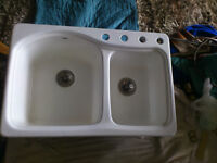 TOTO cast iron enameled kitchen sink and faucet