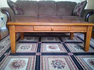 Oak Coffee Table and 2 End tables