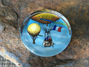 Round Glass Paperweight - Hot Air Balloons with French Flags