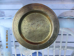 Nice hand crafted brass art plate and bowl  SOLD ASAP