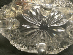 "Collectible Antique 4 Toed Crystal Footed Dish "" The Byrdes "" London Ontario image 5"