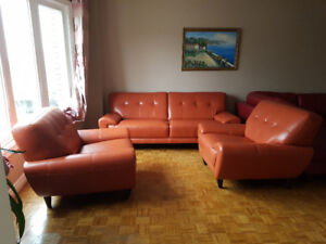 100% Leather Sofa Set - 3 Pieces- $4500 from Leon's
