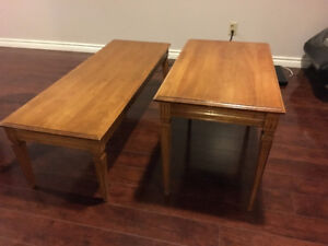 Solid wood coffee table with end table