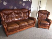 3 seater leather sofa with armchair