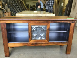 One of a kind 100% grey Barn Board credenza