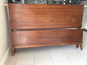 Base de Lit en Noyer ** Double Mid Century ** Walnut Bed Frame