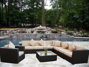 I'm looking for a comfortable outdoor wicker patio furniture set