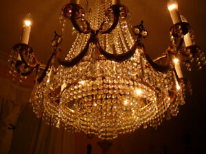 Superb suspension-chandlier vtg Louis XVI style crystal & bronze