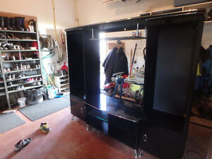 Black and Silver Entertainment Center