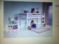 Bed midsleeper frame bed white