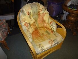 Cane & wicker chair with back seat cushions