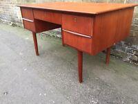 Vintage retro teak wooden mid century office writing computer desks Danish mid century modern