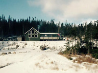 snowmobile and ice fishing lodge