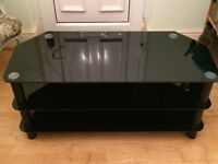 Large Black Glass TV Stand EXCELLENT CONDITION