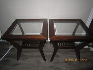 two wood glass end tables
