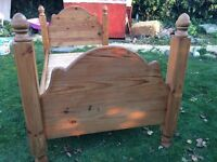 Antique solid pine single bed
