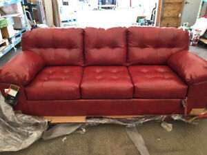 Red Leather Couch $950.00 Brand New!! Original Wrap, NEVER USED