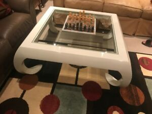 Art Deco - Oversize White Lacquer & Glass Square Coffee Table