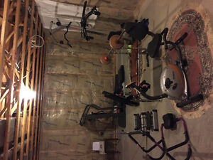 Full complement of exercise equipment