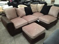 Brand new brown semi Leather corner sofa with matching footstool