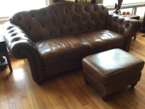 Couch and ottoman 100 % leather