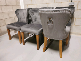 6x Furniture Village Chennai Upholstered Grey Velvet Dining Chairs