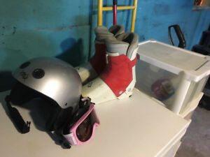 ski poles, goggles, helmet and boots size 3-4 for girls