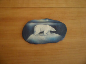 Painted Polar Bear on slate