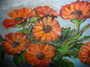 Vintage Still Life of Zinnias In A Blue Vase by M. Oliphant '47 Stratford Kitchener Area image 7