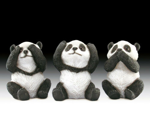 """Pandas See Speak Hear No Evil Figurines set of 3 Resin Collectibles Animals 3"""" H"""