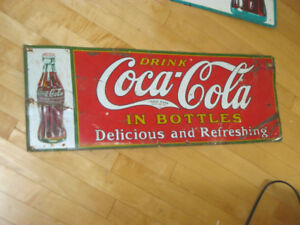 RARE ORIG. DATED 1931 COCA COLA EMBOSSED TIN SIGN WITH BOTTLE!