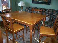 solid wood pub table and 4 chairs